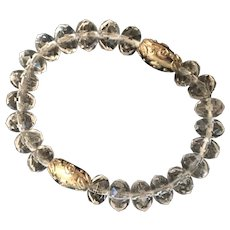 Hand-strung, Clear Crystal and Silver-Colored Bead Bracelet