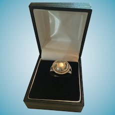 Circa 1920s - 30s Hammered Old Pawn Silver Dome Top Ring