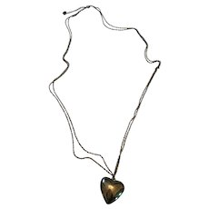Circa 1970s Double-Chain Puff Heart Necklace or Belt
