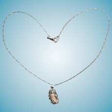Beautiful Silver Wrapped Iridescent Elongated Baroque Pearl Pendant and Chain