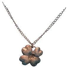 "Dogwood Flower Charm 17 1/2"" Silver Tone Pendant Necklace"