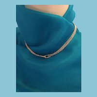 "Four Strand 16"" Silver Tone Looped Chain Necklace"