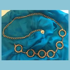"""1960s  38""""Chain Linked Adjustable Metal Belt with Hoops"""