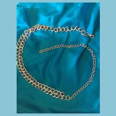 """1960s 37""""Chain Linked Metal Belt with a Double Chain Front Piece"""