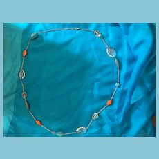 """1960s 42"""" Chain Belt with Blue, Brown, Clear Lucite Beads"""