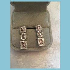Stunning Pair of .925 Silver Pierced Earrings with Pink and White Topaz Stones