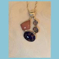 Sterling Silver 18 inch Amythest, Pink Opal, and Millefiori Pendant Necklace