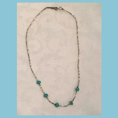 Circa 1960s Silver and Turquoise 15 1/2 inch Surfer Choker Necklace