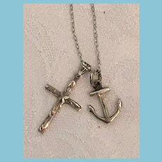 Circa 1960s Sterling Silver Cross and Anchor Charm Choker Necklace