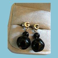 Two Black Bead Drop Marked Pierced Earrings from Filene's