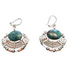 Egyptian-style Chandelier Brass and Malachite Pierced Earrings