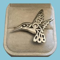 First Nations Design Signed Frederick Pewter Hummingbird Brooch