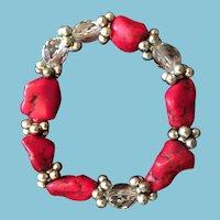 "Native American-Style Artist-Beaded 6"" Expandable Bracelet"