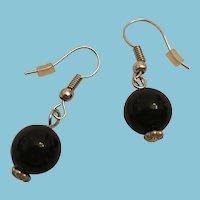 Circa 1980s Black Bead Dangling Pierced Earrings