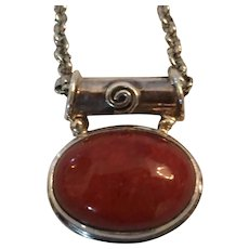 Polished Red Jasper Pendant Necklace in a 925 Silver Setting