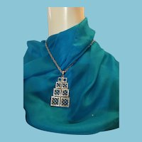 Geometric Silver-tone Metal Pendant Necklace