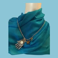 Heart, Hand, Elephant Charm Mixed Metal Signed Necklace
