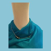 Silver-toned Metal and Bead Signed Choker Necklace