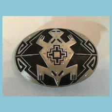 Signed Siskiyou Black and Silver Pewter Turtle Belt Buckle