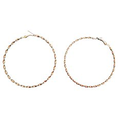 Twisted Metal Wire Large Pierced Hoop Earrings