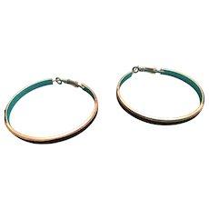"2"" Metal Bands and Blue Glitter Pierced Hoop Earrings"