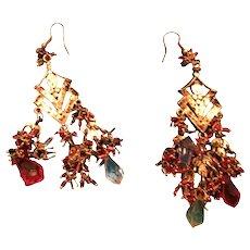 "Rhinestone and Multi-colored Crystal Brass 3 1/2"" Pierced Chandelier Earrings"