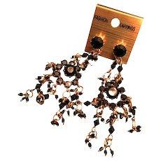 """Brass Pierced 2 1/2"""" Chandelier Earrings with Black Crystal Embellishment"""