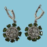 Emerald Green Diopside Earrings Set in Sterling Silver