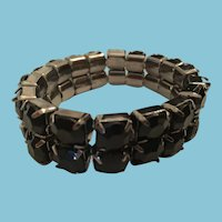 Circa 1980s Adjustable Large Black Crystal Cuff Bracelet