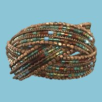 Circa 1960s Cleopatra-style Beaded Braid Cuff Bracelet
