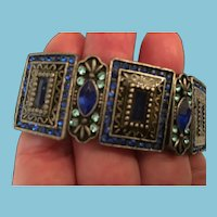 Circa 1960s Blue Crystal and Heavy Metal Expandable Link Bracelet