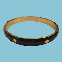 Circa 1980s Studded Black and Brass-colored  Bangle Bracelet