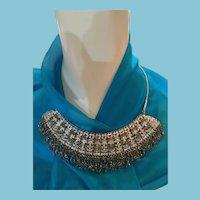 Indian Beaded Gray Crystal and Rhinestone Bib Necklace