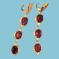 Pair of High Quality Amethyst Sterling Silver Dangling Pierced Earrings