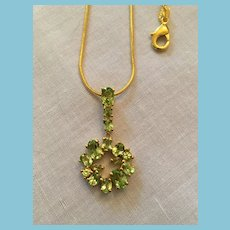 High Quality  925 Sterling Silver Pale Green Peridot Pendant and Chain