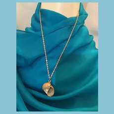 BOHO Brown and White Striped Gastropod Shell Pendant Necklace