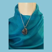 Tumbled Amethyst Pendant Necklace in a Natural Bezel Setting