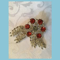 Mid 20th Century Rhinestone Flower Brooch
