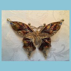 Mid 20th Century Gold-toned Metal and Rhinestone Butterfly Brooch