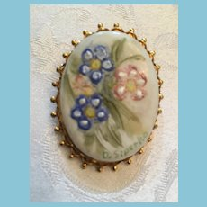 Mid 20th Century Hand-Painted and Signed Flower Brooch