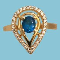 Stunning High Quality Blue Apatite Teardrop Ring