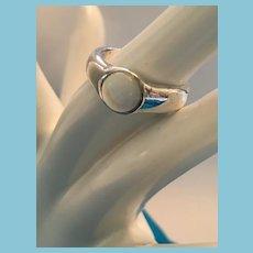 Cabochon Moonstone Sterling Silver Bezel Setting Ring