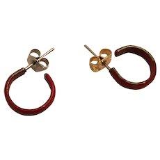 Circa 1980s Circular Red Hoop Stud Pierced Earrings.