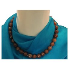 Circa 1980s One Strand Beaded Mexican Obsidian Necklace