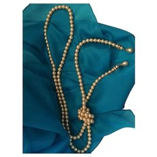 Circa 1980s One Strand 54 inch Faux Pearl Rope Necklace or Belt