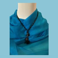 "1980s 18"" Black Chain and Bead Choker necklace with a Drop Cluster"