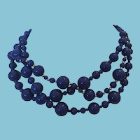 3 Strand Dark Blue Beaded Necklace by Talbots