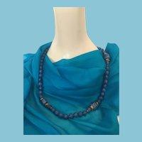 "Circa 1950s 30"" Single Strand Graduated Blue Bead Necklace"