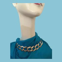 """1950s 18"""" Brass-toned Large Link Metal Chain Choker Necklace"""