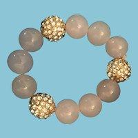 1980s Pink Glass and Rhinestone Studded Metal Bead Bracelet